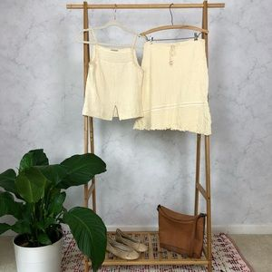 Vintage 90s Cream Textured Cotton Tank Skirt Set